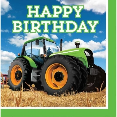 Tractor Time, Servetter 16-pack Happy Birthday
